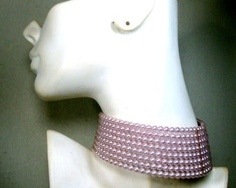 Pink Lavender Pearl BONDAGE Choker, BDSM  Sexy TIGHT Cosplay Classic Necklace,  8 Rows Pearls, Memory Wire Fit, No Catch, 1980s