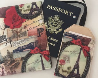 Paris Passport Cover, Passport Wallet, Travel Set, Passport Holder and Luggage Tag, Romantic Passport Cover, Gift for Her, Gift under 20