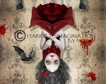 Gothic Art Print - Vampire Art - Vampire Girl & Bats - Wall Art - Gothic Print - Among Friends