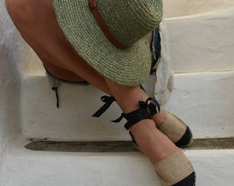 Espadrille Sandals. Lace up Chanel Style Espadrilles in Beige and Black. Summer Leather and Fabric Shoes. Women's Sandals. Greek Sandals.