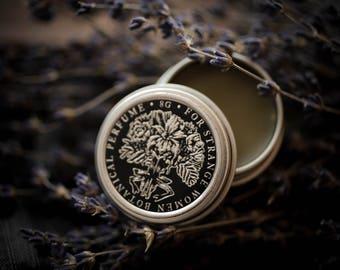 Lavender + Cade - natural solid perfume - smoked lavender botanical perfume, lavender lovers, dark, herbal, blue lavender, juniper wood