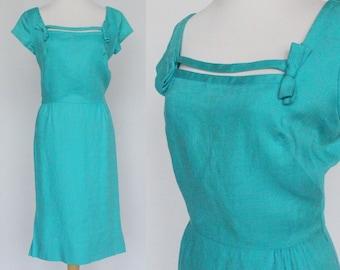 50's / 60's Aqua Blue Linen Dress / Little Bows at Necklne / Wiggle Dress / Ira Rentner / Small