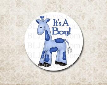 Baby Shower Stickers Boy Girl Giraffe Blue Envelope Seals Party Favor Treat Bag Sticker SB005