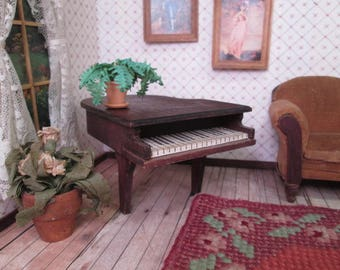 """Vintage German Doll House Furniture - Red Stain Grand Piano - 1"""" Scale"""