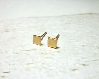 Matte Rose Gold Square Stud Earrings, Square Earrings