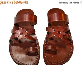15% OFF Brown Flower-cross Leather Sandals For Men & Women - Handmade Unisex Sandals, Flip Flop Sandals, Jesus Sandals, Genuine Leather Sand