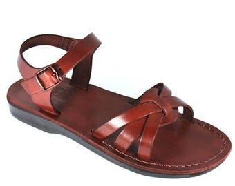 15% OFF New - Brown Gaia Leather Sandals For Men & Women - Handmade Sandals, Leather Flats, Leather Flip Flops, Unisex Sandals, Brown Sandal