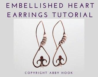 Embellished Heart Earrings, Wire Jewelry Tutorial, PDF File instant download
