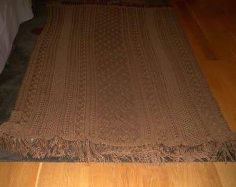 Knit Afghan in Warm Brown, Blanket, Throw