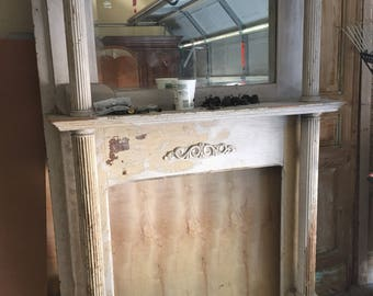 Antique fireplace mantle with original beveled mirror!