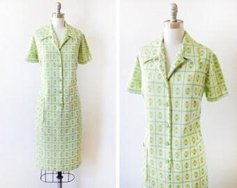 geometric mod dress, vintage mod scooter dress, 60s 70s retro green + yellow button up dress, large l/xl