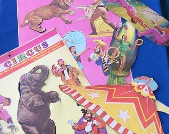 Vintage Die Cut Circus Set 50's Paper Card Stock Cardboard Decorations by Dennison for School, Teacher, Home Decor, Kids Room