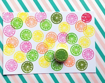 citrus slice rubber stamp. lemon lime orange grapefruit stamp. fruit hand carved stamp. summer scrapbooking. birthday gift wrapping. small