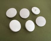 White plastic sewing buttons - set of 6 vintage shank buttons 23mm