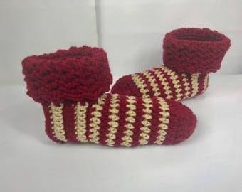 Crochet Slippers, Sock Booties with cuff, red white pink socks, handmade booties, women slippers, slip ons, women's gift