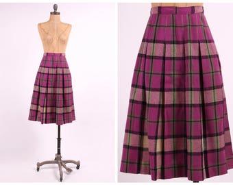 purple plaid wool skirt high waist pleated preppy ladies vintage 1950s fitted aline midi small medium