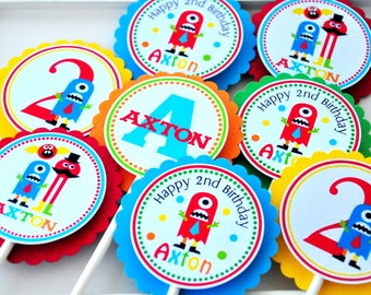 Little Monsters Cupcake Toppers, Little Monsters Birthday Party, Primary Colors - Set of 12