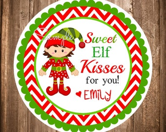 Printable Elf Stickers or Gift Tags,Printable Holiday Stickers,Christmas Gift Tags,Digital Elf Stickers,Holiday Favor Tags , Boy or Girl Elf