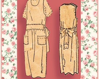 Vintage 1920s-FARMER'S WIFE APRON-Sewing Pattern-Loose Fit-Pullover-Scoop Neckline-Patch Pockets-Dropped Waist-Size 44-Mega Rare-Collectable