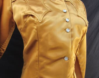 1950s Vintage 50s Tregos Westwear Skinner Victory Satin Western Cowgirl Rodeo Queen Bronze Shirt Top Medium M Small