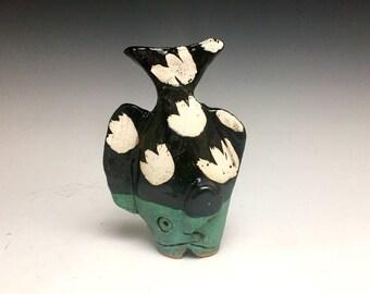 Tiny Table Fish: Black + Green; Soul Fish; Ceramic Fine Art