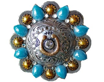 Women's Concho Belt Buckle with Horseshoe and Crystal Rhinestones