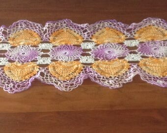 Vintage Pineapple Patterned Lace Crochet Runner, Long Doily, Variegated Purple & Gold, Marigold