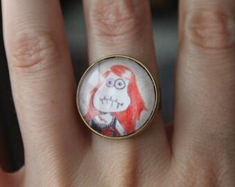 Adjustable Ring Glass Cabochon from Original drawing Ragdoll Poupee de Chiffon