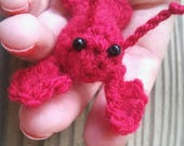 Bitty Lobster - miniature lobster amigurumi lobster tiny lobster keyring lobster ornament Maine lobster souvenir mini lobster plush