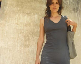 Basic Tunic-mini Dress With Built In Bra-gray Yoga Clothes-
