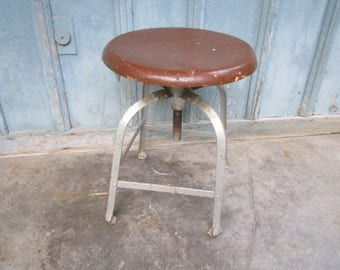 Vintage 1920s/30s Industrial Heavy Metal Shop Stool with Solid Oak Seat