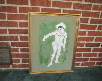 Vintage 1960s Picasso Framed Canvas Print of White Clown on Green