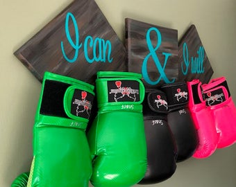 Boxing Glove Holder with inspirational saying ,  Wall Hanging