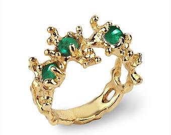 SALE 20% Off - BETWEEN THE Seaweeds 14k Gold Emerald Ring, Natural Emerald Ring, Unique Gold Ring, Green Emerald Ring