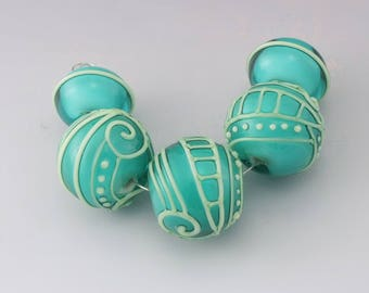 Transparent Teal Blue over White Light Green Scrollwork Lines Dots Scrolls Texture  Round Bead Set Heather Behrendt BHV SRA LETeam 4984