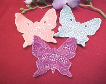 Pottery Butterfly Ornament | Pink, Emerald, Fuchsia, Sage, Baby Blue | Clay Ornament | Gift under 10 | Grateful LOVE Blessed I (Heart) You