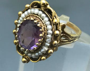 Antique Ring . Victorian . Art Nouveau .  Natural Amethyst  .Seed pearl . 15kt gold jewelry