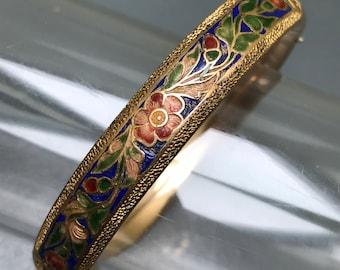 Antique Victorian Hinged  Bangle . Rose  Gold Filled . Enamel .  Mason Howard Jewelry