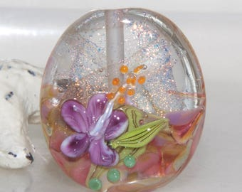 Autumn Dichroic Floral Lampwork Glass Bead