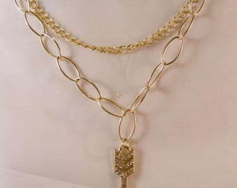Gold Multi Chain Arrow Necklace