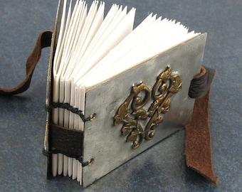 Metal Book, Coptic Bound, small journal, memories, photos, poems, vintage brass accent