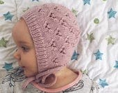 Baby Bonnet Knitting Pattern, Knit Bonnet Pattern, Instant Download, Baby Hat Pattern, PDF Knitting Pattern, LITTLE HEARTS Baby Bonnet