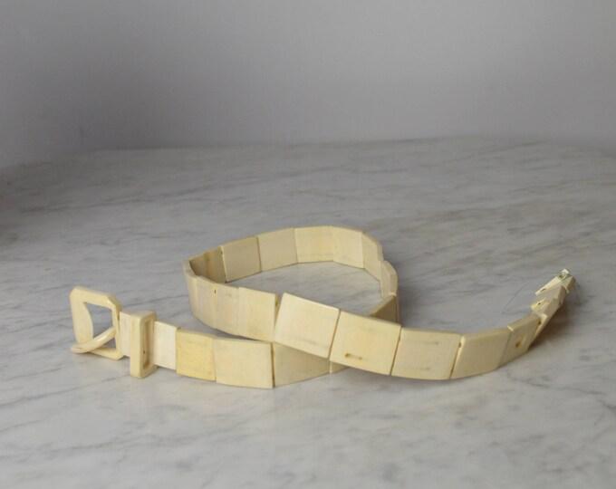 Antique Ivory Pyralin , French Ivory Belt, Beige Belt, Celluloid Belt, Bakelite Belt, 1920s Belt, 20s Belt, Flapper, 30s Belt, 1930s Belt,