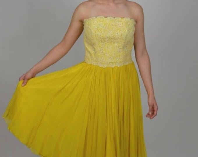 sale Vintage Dress, 50s Dress, Cocktail Dress, Silk Chiffon Dress, Prom Dress, Party Dress, Strapless Dress, Spring Dress, Summer Dress,