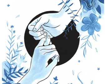 Original watercolor painting - Pinky Promise - 11x14in Wall Art indigo and black sumi ink painting