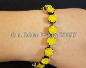 Crystal Bracelet - Yellow Opal Swarovski Chatons - 8 mm stone size