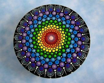 Jewelry storage-wooden trinket storage stash round box-OOAK unique 3D original mandala art-pointillism-crystal rainbow dot art-glow in dark