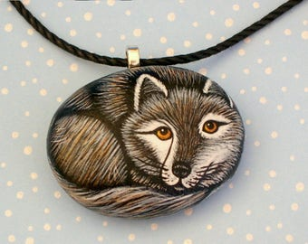 Gray Wolf Unique ooak 3D Native American art Gift for naturalist Yellowstone wildlife animal jewelry woodland painted rocks pendant necklace