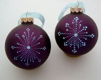 Hand painted glass Christmas tree ornaments-ooak snowflake mauve teal glow-Holiday Decorations hostess friends coworker yoga teacher gifts