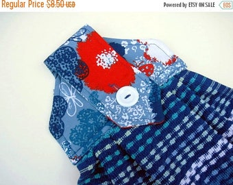 Summer Sale Hanging kitchen towel  button top Blue woven stripes Red white blue  Flower top Quiltsy handmade